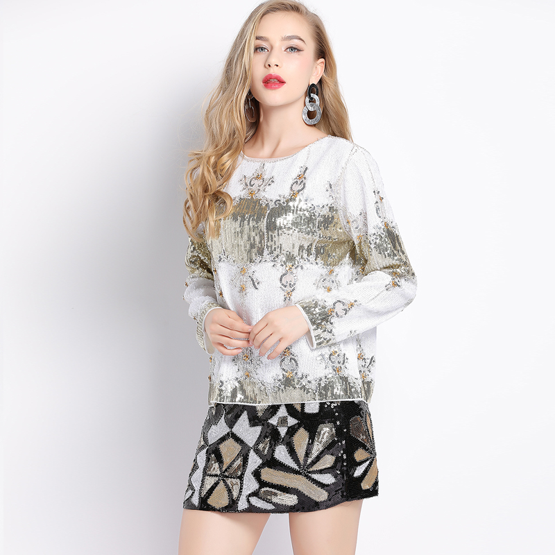 Runway Luxurious Women Sequin Beaded Blouse O Neck Long Sleeve Mesh Embroidery  Appliques Short Party Shirt Top Blusa Camisa-in Blouses   Shirts from  Women s ... f52a70b10e06