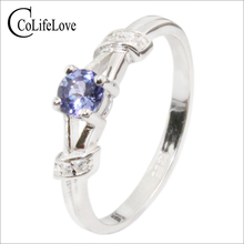 CoLifeLove tanzanite engagement ring for woman 4 mm VS grade natural tanzanite silver ring 925 sterling silver tanzanite jewelry