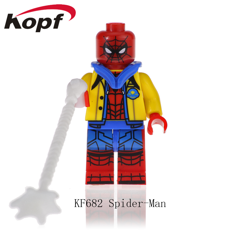 KF682 Super Heroes Spiderman Captain Avengers Anti-Venom Deadpool American Carnage Bricks Figures Collection Toy For Children image