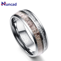 Excellent 8MM Wide Men Ring Silver Color Smooth Imitation Rock Stone Antler Tungsten Steel Rings Men's Jewelry