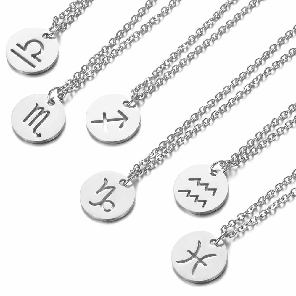 Fashion Zodiac Choker Necklace 316L Stainless Steel Women Constellations Silver Color Never Fade Hollow-out 12 Signs Gifts