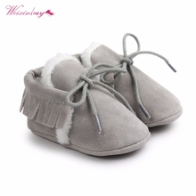 CuteNewborn Baby Boy Girl PU Suede Leather Moccasins Fringe Soft Soled Non-slip Footwear  Shoes