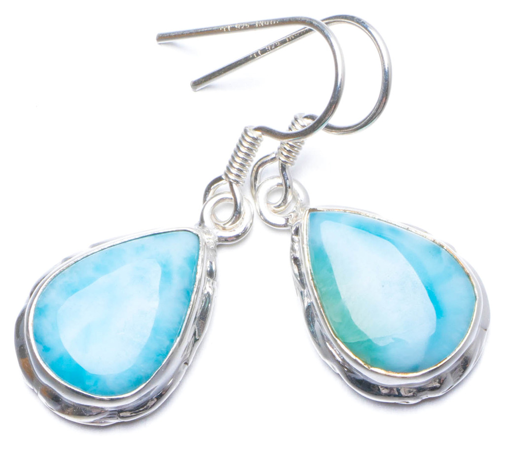 Natural Caribbean Larimar Handmade Unique 925 Sterling Silver Earrings 1.25 X5030