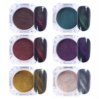 BORN PRETTY 6 Pcs Cat Eyes Magnet Nail Glitter 3D Powder Magic Magnetic Nail Glitter Dust UV Gel Manicure Nail Art Pigment