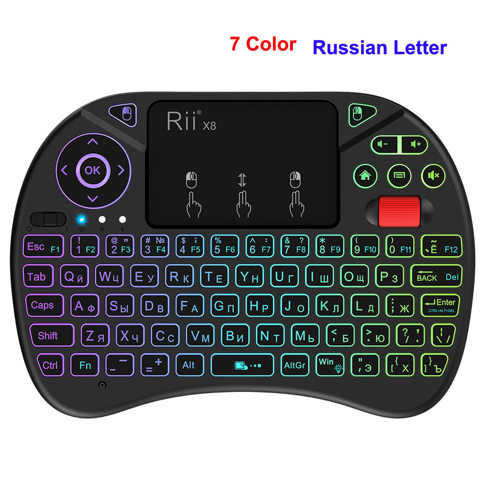 Rii i8 x8 2.4GHz Wireless gaming Keyboard With Backlit Mouse Roller Air mouse Touchpad for Android TV BOX English Russian цена и фото