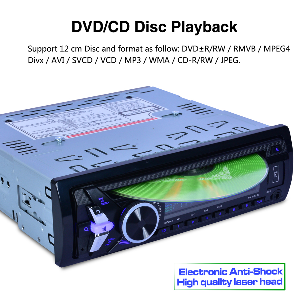 8823B 7388IC Car DVD 12V FM Radio Audio Bluetooth Player Receiver CD VCD WMA MP3 SD/USB 4*52w big power output one single DIN