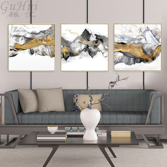 מופשט דיו בד ציורי סיני שחור זהב לבן פוסטר הדפסת נורדי קיר אמנות תמונה לסלון בית משרד דקור