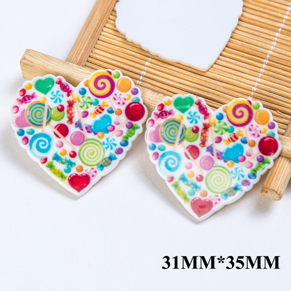 50pcs 31*35MM Various Sugar Flat Back Resins Planar Heart Shape Kids Snacks Resin Cabochon DIY Craft For Houten Decoratie FR082