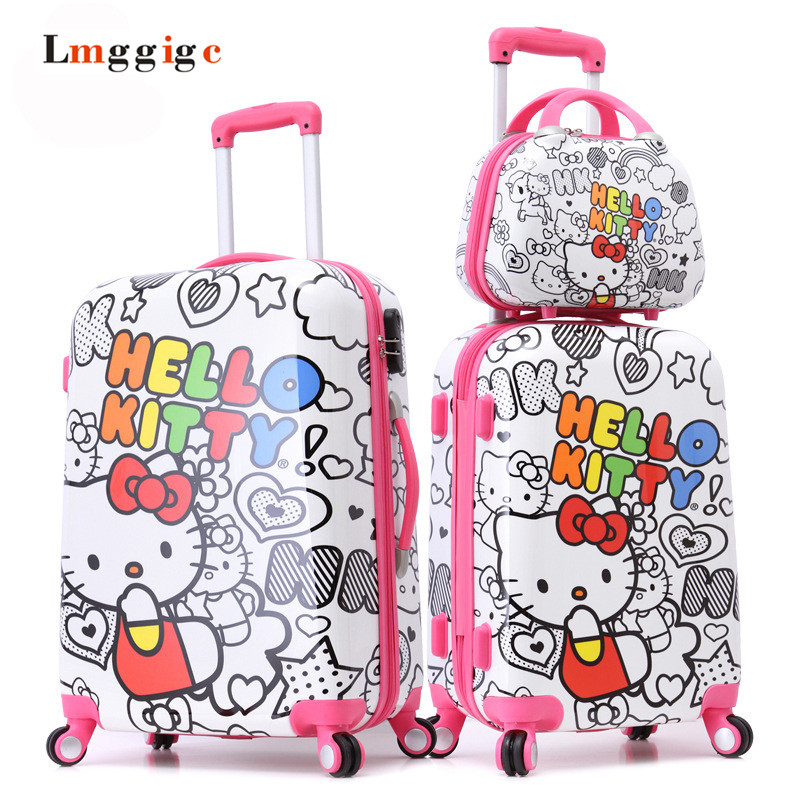 2024inch HELLO KITTY Carry-Ons,Multicolored Luggage Set,ABS KT Trolley Suitcase,Nniversal wheels Kit travel bag,Password box lemon leaf printed elastic waist flared skirt