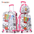 "20""24""inch HELLO KITTY Carry-Ons,Multicolored Luggage Set,ABS KT Trolley Suitcase,Nniversal wheels Kit travel bag,Password box"