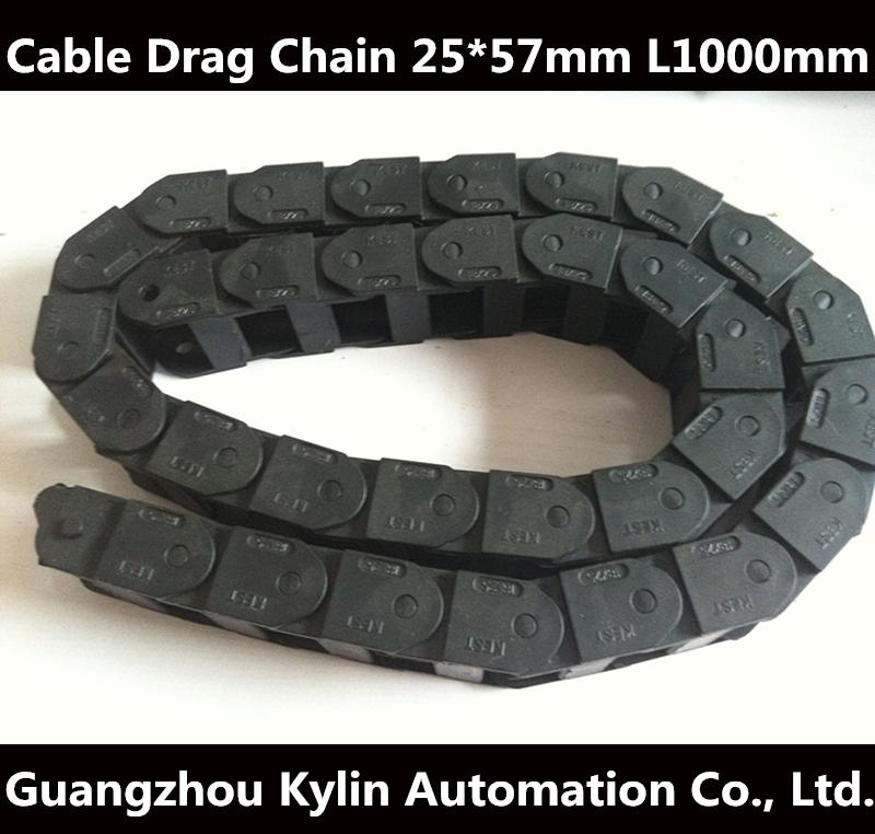 Best price!25 x 57 mm L1000mm Cable Drag Chain Wire Carrier with end connectors for CNC Router Machine Tools best price 10pcs stainless steel wire keychain cable key ring for outdoor hiking popular
