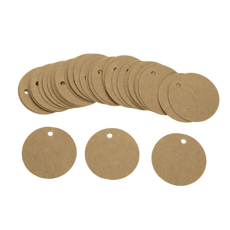ALLOYSEED 100Pcs Kraft Paper Label Card Round Blank Tag for DIY Gifts Craft Price Luggage Name Tags Hanging Bookmark Etiqueta