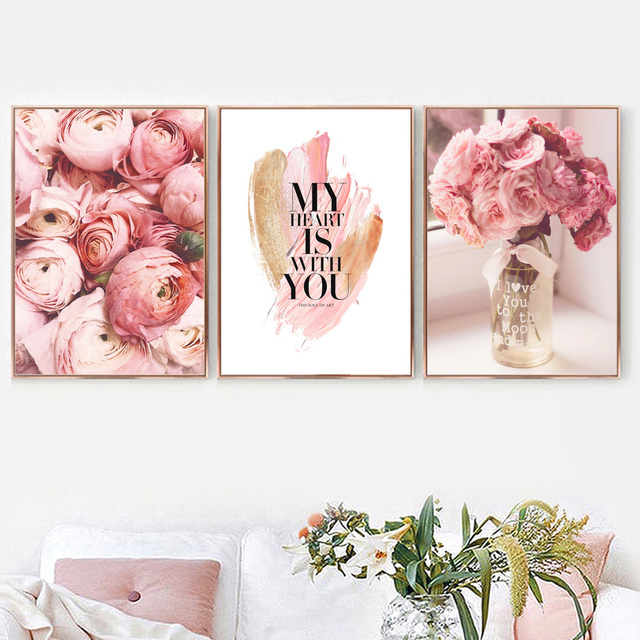 Pink Rose Flower Vase Love Quote Wall Art