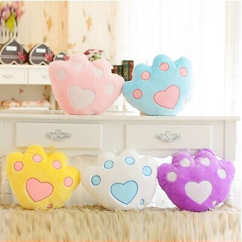Paw Led Luminous Color Change Decorative Pillow Stuffed Plush Animal Children Pillow Cute Bear Paw Doll Toys for Girls lady bug dolls
