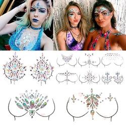 Shellhard 12 estilos adhesivo joyas y pegatinas maquillaje cara Boob Cristal de joya Festival gemas fiesta maquillaje pegatinas para arte corporal