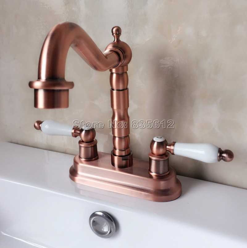 "Antique Brass 2 Hole 4/"" Centerset Deck Mounted Bathroom Faucet Sink Basin Tap"