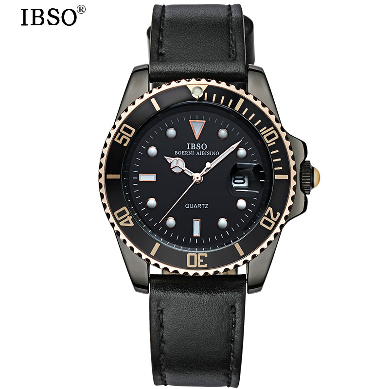 IBSO Watches Men Leather Strap 2018 Top Brand Luxury Men Quartz Watch Complete Calendar Waterproof Clock Relogio Masculino #3961 dom men watch top luxury men quartz analog clock leather steel strap watches hours complete calendar relogios masculino m 11 page 2