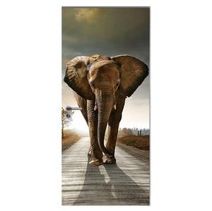 Image 2 - Дверные наклейки 3D, жираф, слон, тигр, лошадь, животные, двери гостиной, Декоративные плакаты, водонепроницаемые художественные обои для спальни