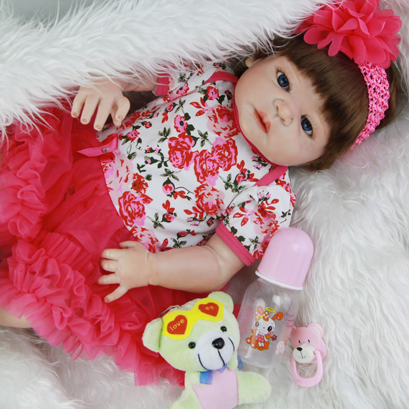 New Design Alive Baby Girl Dolls 23 Inch Full Body Silicone Vinyl Newborn Realistic Babies Toy With Rose Dress Kids Play Dolls