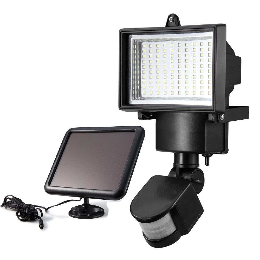 100 LED Solar Light with Motion Sensor and Solar Panel Outdoor LED Floodlight Security Lamp for