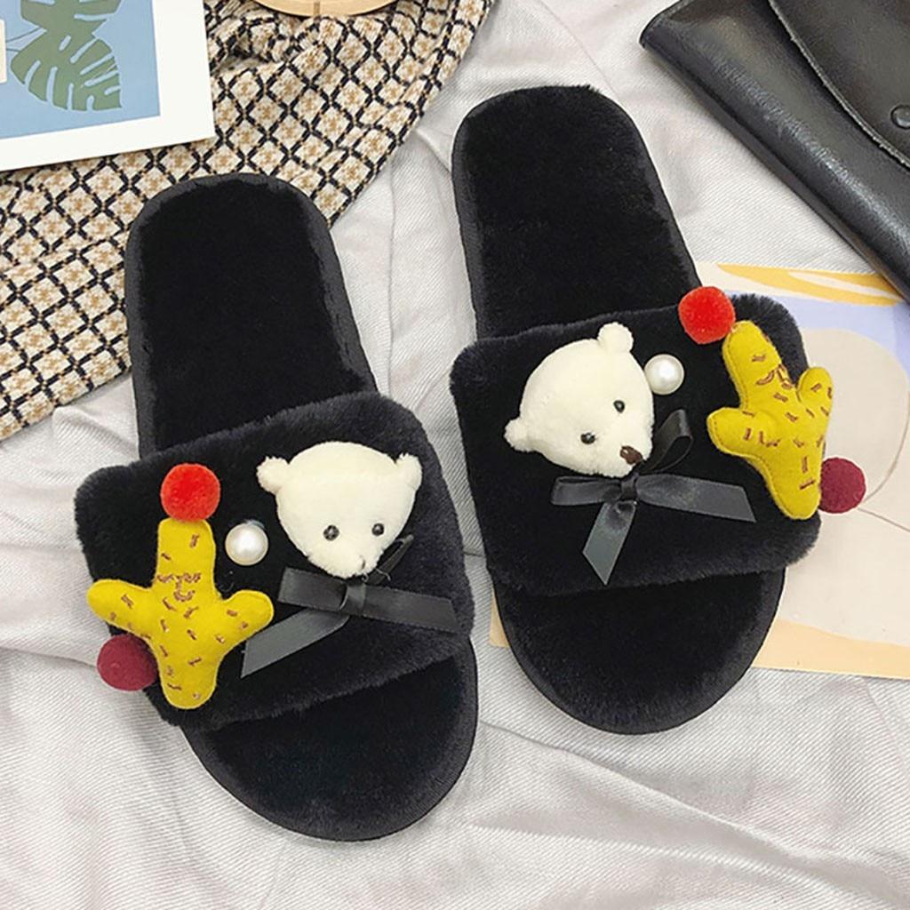 Women Slippers Home Fluff Soft Cartoon Bear Slippers Indoor Flip Flop Girls Winter Warm Shoes Hotel Slippers