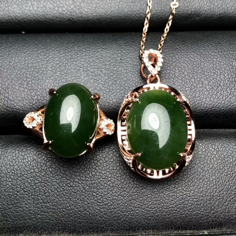 KJJEAXCMY Boutique jewels 925 pure silver inlaid natural and Tian jade jade female pendant pendant ring 2 sets of gold. - 6