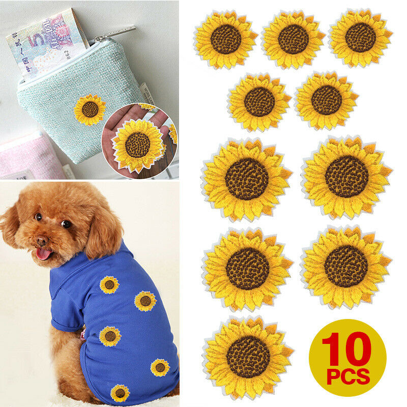 Iron-On-Patches Stickers Jeans Embroidery Sunflower Toys Figures-Model for Clothing Stripe