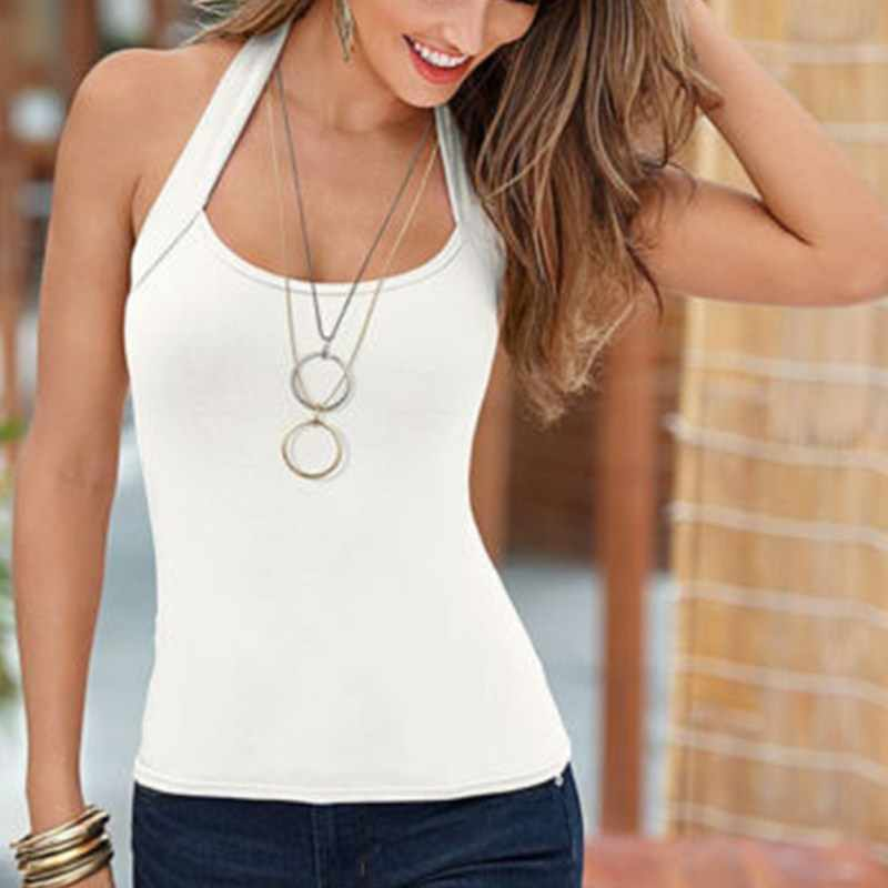 d3aa8c70040c 2019 Sexy Women Fashion Summer Vest Top T-Shirt Sleeveless Blouse Casual  backless Tank Tops