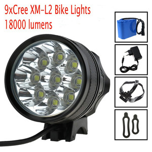 Фонарь для велосипеда, 18000 люмен, фонарь для велосипеда, 9x Cree XM L2 светодиодный светильник для велосипеда, головной светильник для велоспорта ...