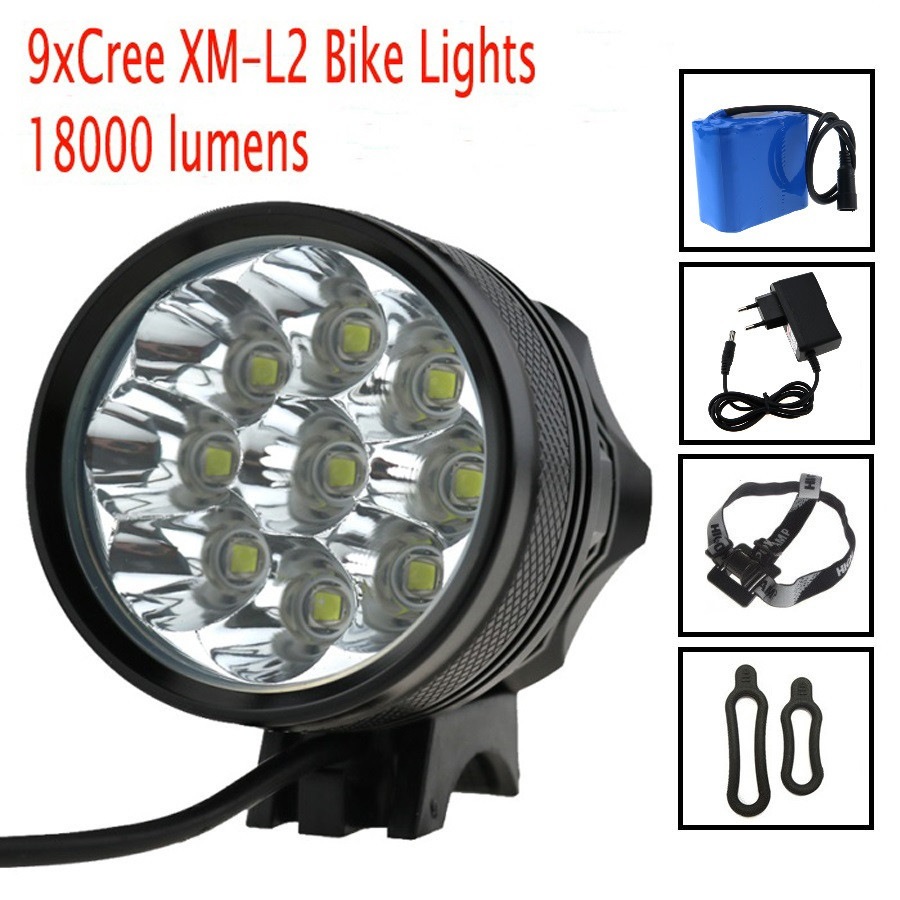 18000 Lumens Bike Headlamp Flashlight 9x Cree XM L2 LED Bicycle Light Cycling Helmet headlight +18650 Battery Pack +Charger 2 in 1 20000lm 16 x xm l t6 led rechargeable bicycle light bike headlight headlamp head lamp 18650 battery pack charger