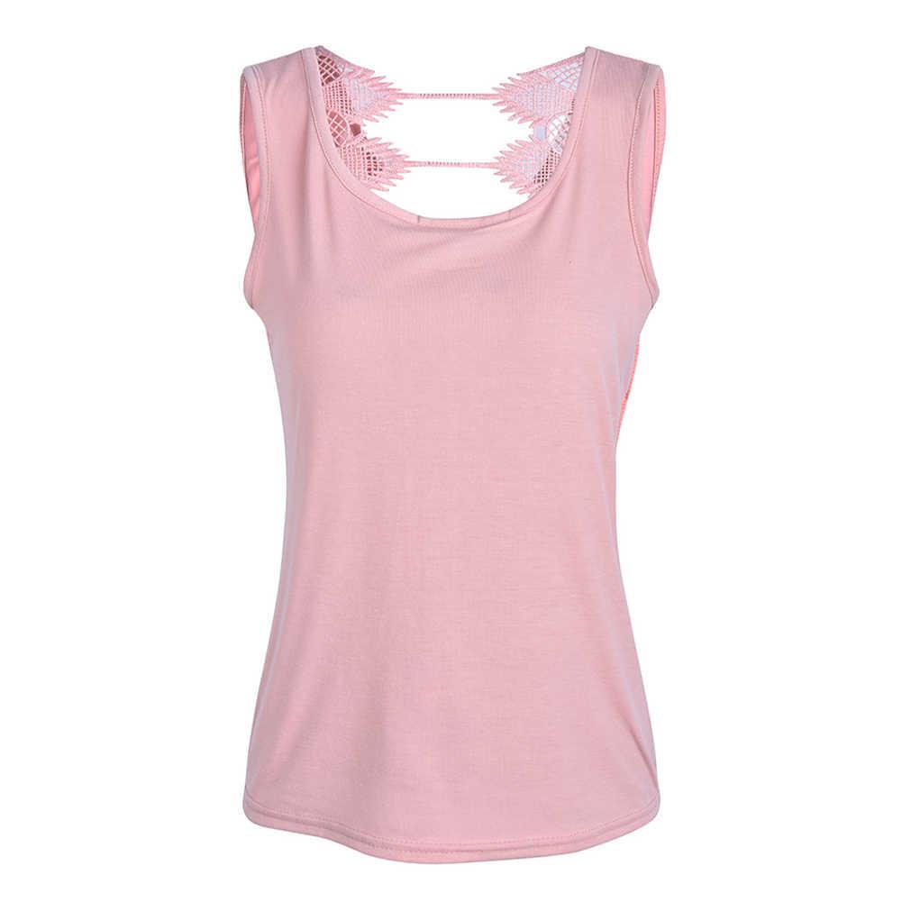 Sólido sin mangas espalda descubierta Jersey mujer camiseta Sexy Primavera Verano encaje costura camisetas sueltas #5