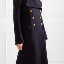Новинка, женское двубортное длинное пальто в стиле милитари из шерсти, женская верхняя одежда manteau femme abrigos mujer, сезон весна-Зима