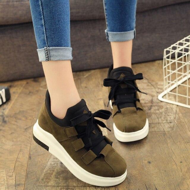 8ec52a1e677f Nice New Fashion Platform Shoes Woman Round Toe Comfortable Casual Suede  Women Shoe Flat Heels Autumn Ladies Leisure Sneakers