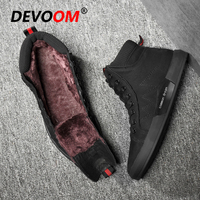 Brand Quality Leather Boots New Winter Boots Men Fashion Leather Shoes Men Black Fur Sneakers Stripe Snow Boots for Men Size 44