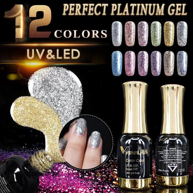 VENALISA סופר צבע ג 'ל צבעי קריסטל לכה CANNI אמנות גליטר פרל יהלומים לספוג off פלטינה UV LED ג' ל ציפורניים פולני