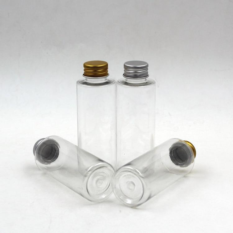 New 100ml Plastic Travel Empty Jars Perfume Bottle Liquid Container Aluminum Cap Silver/Gold travel container set