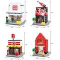 Caliente Mini street view building block 24 horas BIEN Conveniencia Tienda de moda tienda de Pizza hut Cole compatible. legoeinglys ciudad juguetes