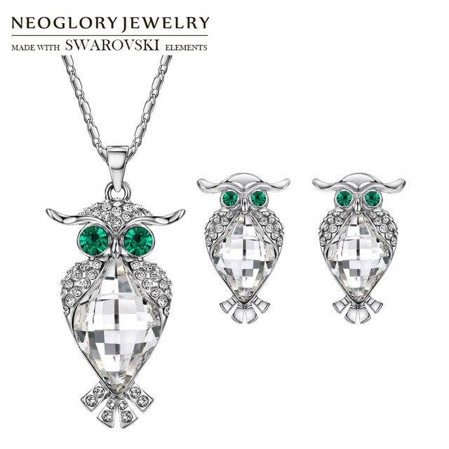 Neoglory MADE WITH SWAROVSKI ELEMENTS Crystal   Rhinestone Jewelry Set Owl  Design Trendy Gift Necklace   Earrings Women Sale 548b22187835