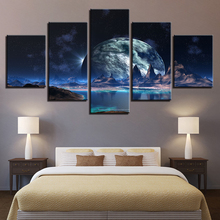 Canvas Posters Home Decor Wall Art 5 Pieces Lunar Starry Sky Mountain Lake Paintings HD Prints Moon Abstract Pictures Framework