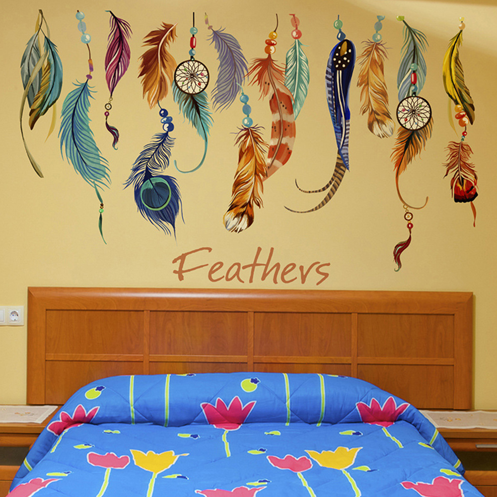 HOT fantastic flying feathers wall stickers colorful room ...
