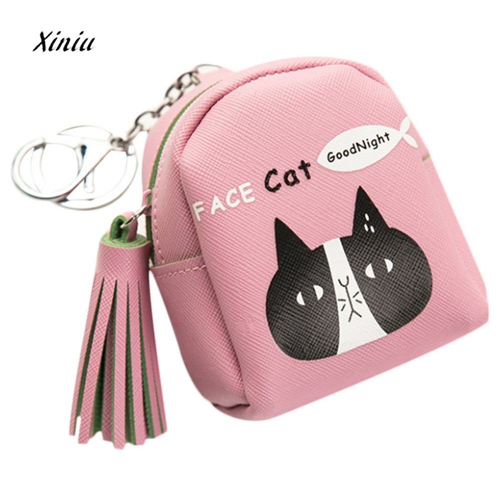 Tassel Cute Animal Pattern Women Ladies Snacks Coin Purse Wallet Bag Fashion Leather Small Zipper Change Pouch Key Holder Bags 2017new coin purses wallet ladies 3d printing cats dogs animal big face fashion cute small zipper bag for women mini coin purse