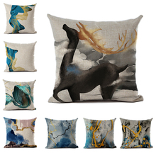 Abstract Series Cushion Cover Linen or Polyester Water Ink Style Pillowcase Home Bedroom Living Room Decor for Sofa Car 45x45cm
