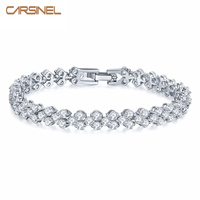 FYM 17CM Cubic Zirconia Romantic Bride Bracelets Bangles Sliver Rose Gold Plated Jewelry Bracelets Wholesale BR0002