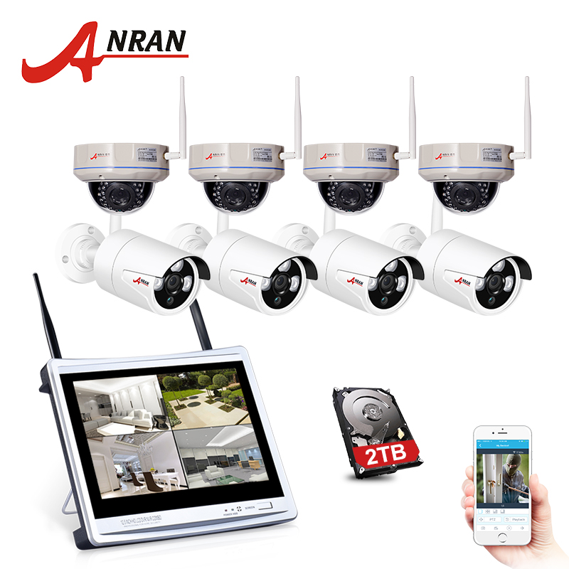 ANRAN 1080P HD H.264 Wifi NVR Kit Outdoor Night Vision Security Camera System 8CH 12LCD Screen Surveillance System