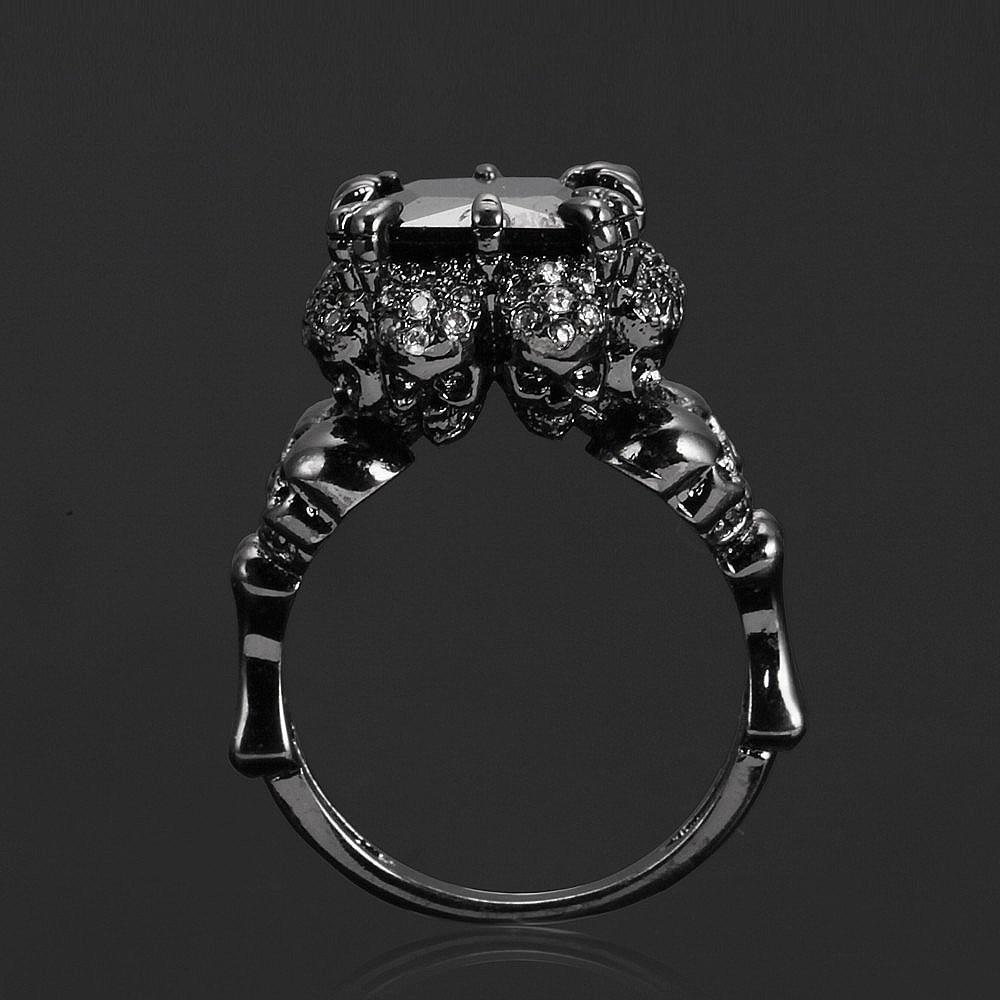 2017 bijoux Crâne bague pour lady pavée zircon de luxe Princesse femmes De Mariage Bague de Fiançailles pourpre rose couleur Rin