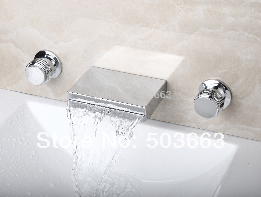 bathroom 3 pieces Luxury Waterfall Spout Wall Mount Bathroom Basin Sink Bathtub Polished Chrome Double Handles Mixer Tap Faucet polished chrome double cross handles wall mounted bathroom clawfoot bathtub tub faucet mixer tap w hand shower atf902