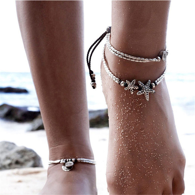 Women Boho Starfish Anklet Summer Beach Vintage Chain Anklet Barefoot Sandals Foot Jewelry for Woman Lady
