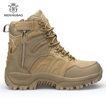 Męskie buty wojskowe bojowe męskie botki taktyczne duże rozmiary 45 46 buty w stylu wojskowym buty męskie bezpieczeństwo buty motocyklowe wysokiej jakości buty tanie i dobre opinie NIDENGBAO Desert Boots Syntetyczny ANKLE Mieszane kolory Dla dorosłych RUBBER Okrągły nosek Wiosna jesień Mieszkanie (≤1cm)