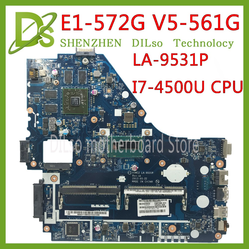 KEFU V5WE2 LA-9531P Mainboard For Acer E1-572G E1-572 V5-561G Motherboard LA-9531P  I7-4500 CPU R5 M240 Test Work 100% Original