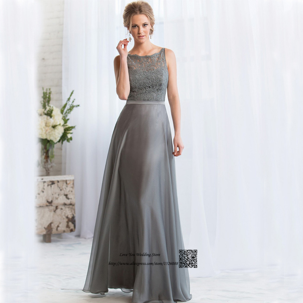 Gray Long Bridesmaid Dresses Lace Backless Wedding Guest Wear Gowns ...